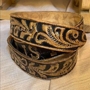 Handmade leather belt no buckl Square Dance is Fun